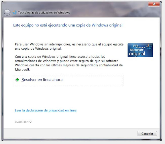 "Solucion mensaje ""Esta copia de Windows no es Original&"