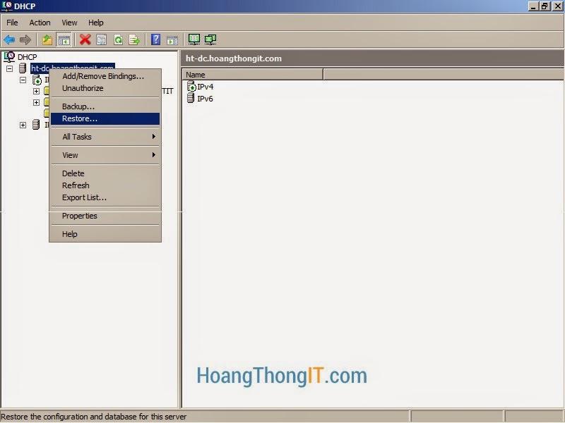 Restore DHCP