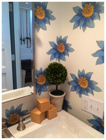 Flower wallpaper in the powder room.  2014 Southern Living Idea House in Palmetto Bluff, SC | The Lowcountry Lady
