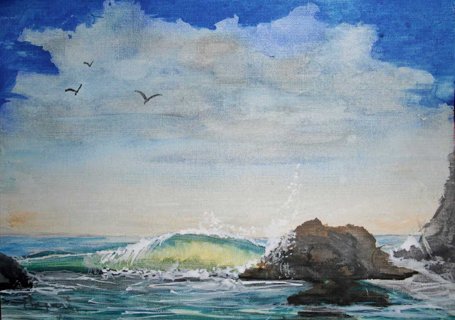 watercolor study waves Oceanside, giveaway painting free