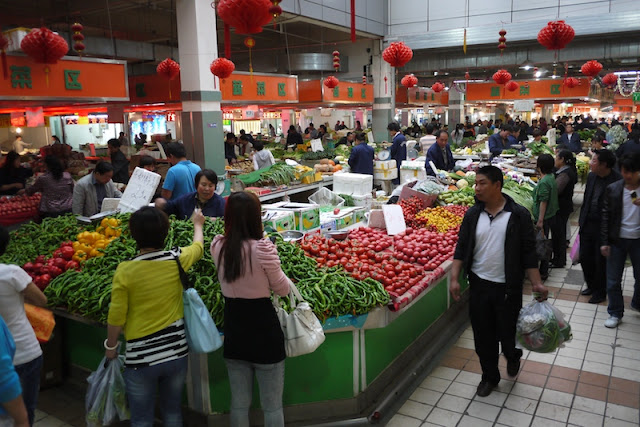 vegetable market in Xining, China