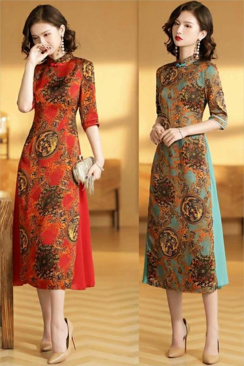 Đầm lụa kiểu áo dài cách tân HN572