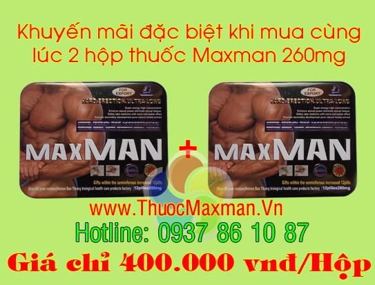 Thuốc maxman 260mg giá khuyến mãi khi mua 2 hộp