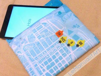 funda tablet de tela reciclada