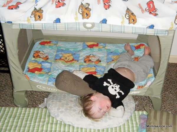 sleeping in converted Pack 'n Play