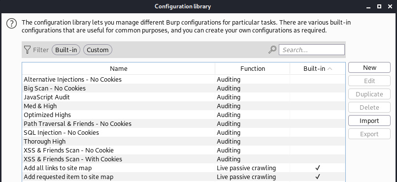 configuration library of burp suite screenshot of predefined white oak security templates
