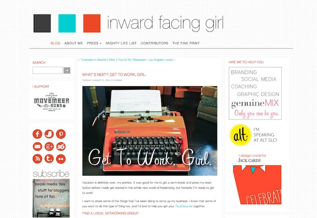 inward facing girl melanie Biehle typewriter