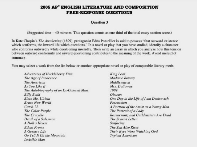 list of ap literature essay questions