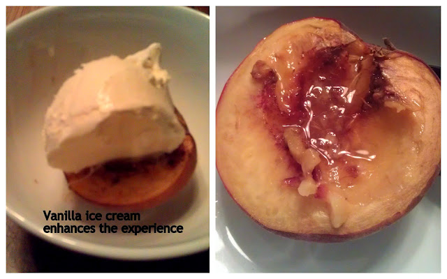 Squirrel Head Manor: Baked peaches with maple syrup and vanilla