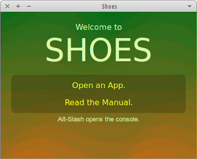 Shoes (Ruby GUI Toolkit) running on Xubuntu 12.04