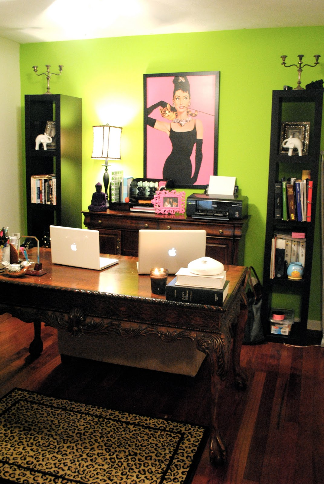 Remodelaholic Renovated Home Office With Stripes And