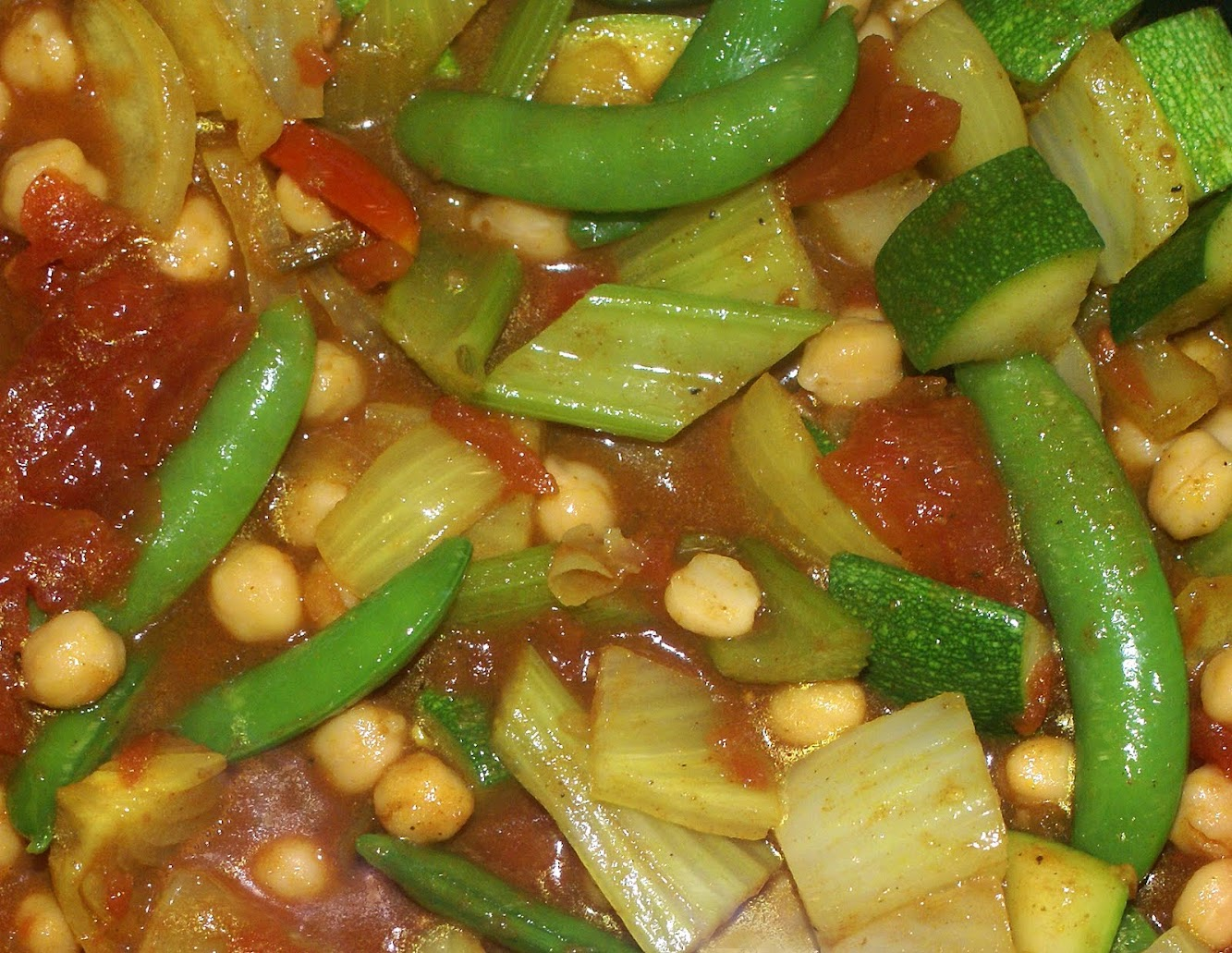 Curried Chick Peas with Veggies
