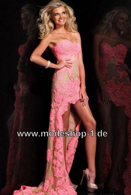 Kleid in rosa mit stickereien online kaufen vorne kurz hinten lang
