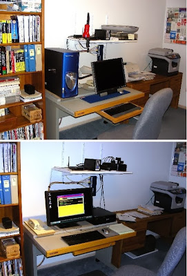 Old Dell PC (top) replaced by HP workstation