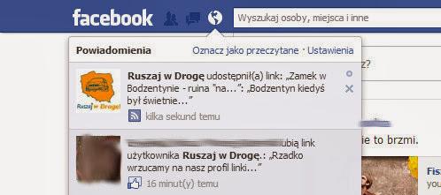 Ruszaj w Drogę na Facebooku - Powiadomienie o nowym poście