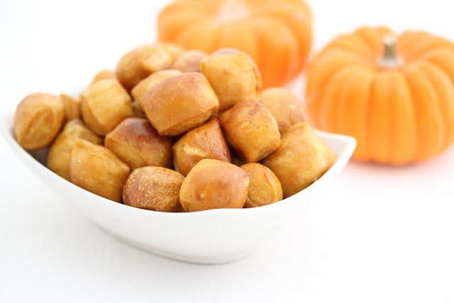 close-up photo of a bowl of Pumpkin Soft Pretzel Bites