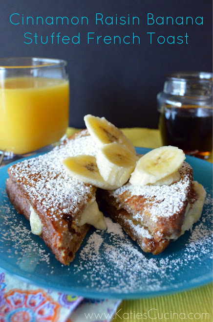 Cinnamon Raisin Banana Stuffed French Toast from KatiesCucina.com