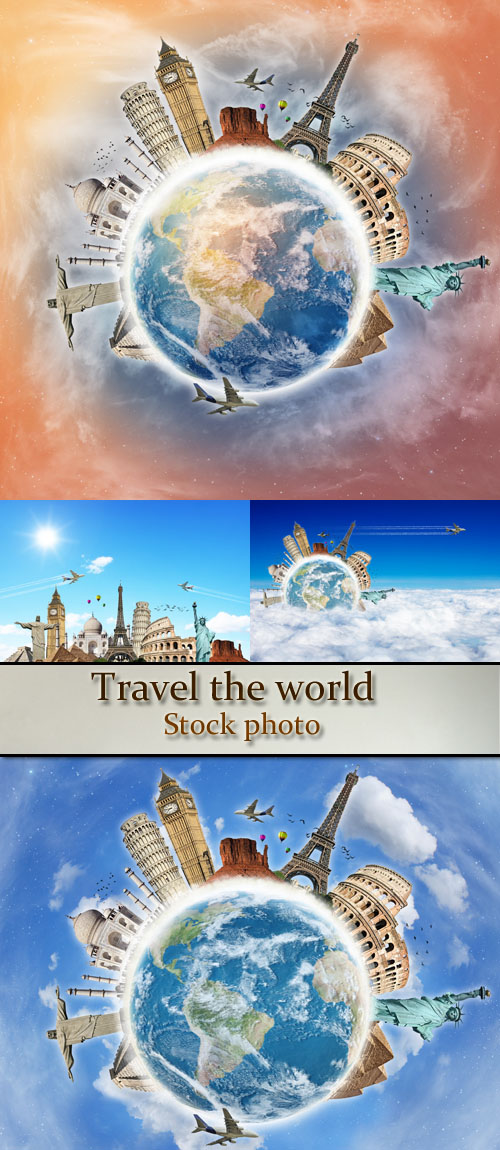 Stock Photo: Travel the world monuments concept