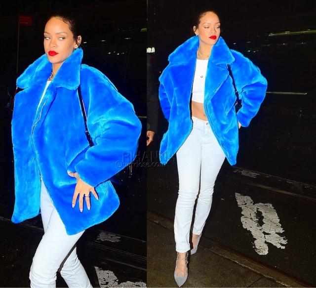 Rihanna in KYE's Fall 2014 Blue Jacket