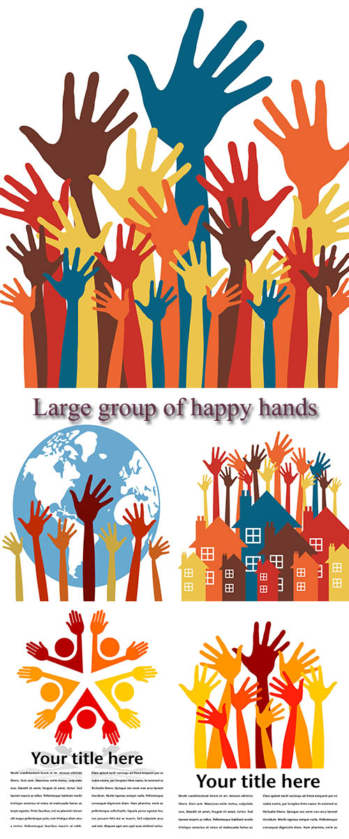 Stock: Large group of happy hands vector