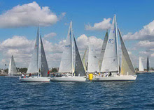 J/105 one-design sailboats- sailing Hot Rum Series- San Diego, CA