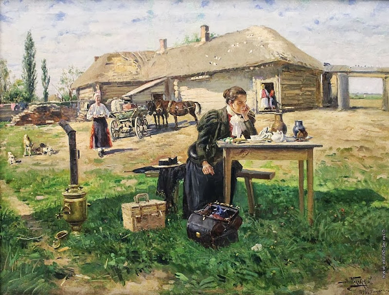 Vladimir Makovsky - Teacher Visiting a Village