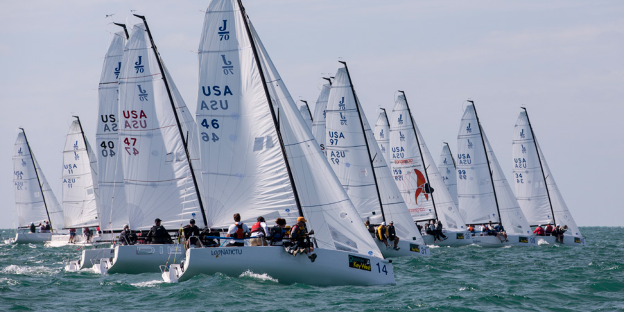 J/70 one-design sailboats- sailing off start in Florida