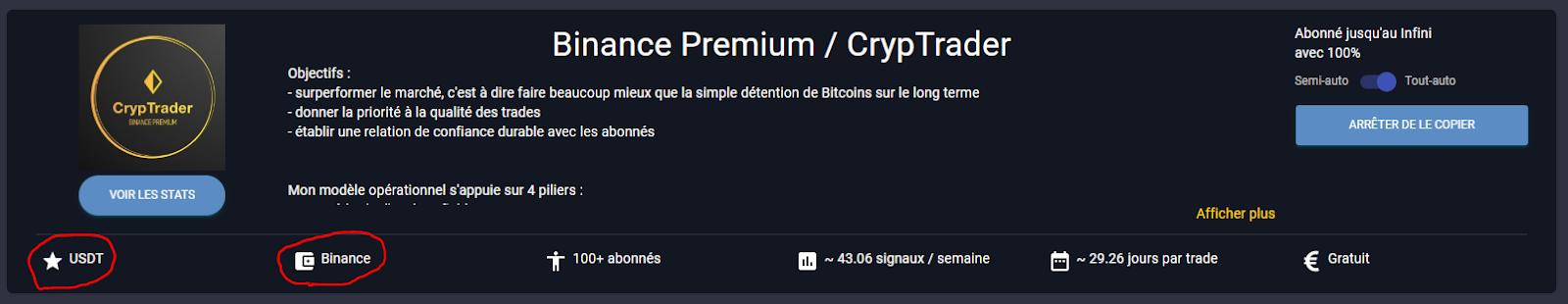 "Choix du Trader ""Binance Premium / CrypTrader"" pour le Copy Trading"