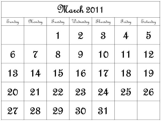 printable calendars march 2011. Free Printable Calendar 2011