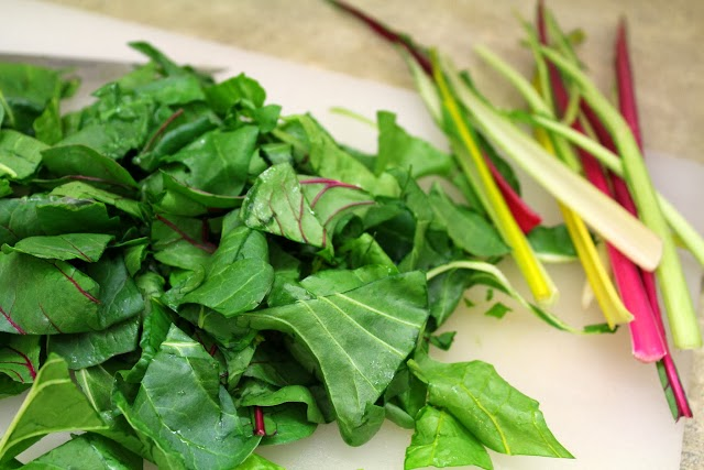 Chopped Rainbow Swiss Chard with Stems removed.