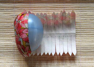 washi egg being wrapped