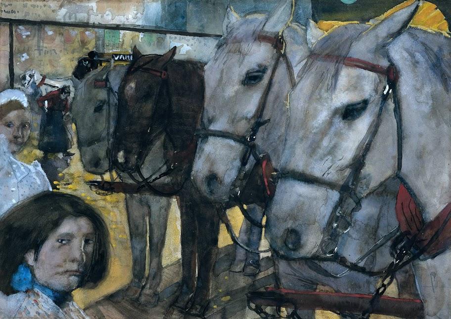George Hendrik Breitner - Tram Horses on Dam Square, Amsterdam