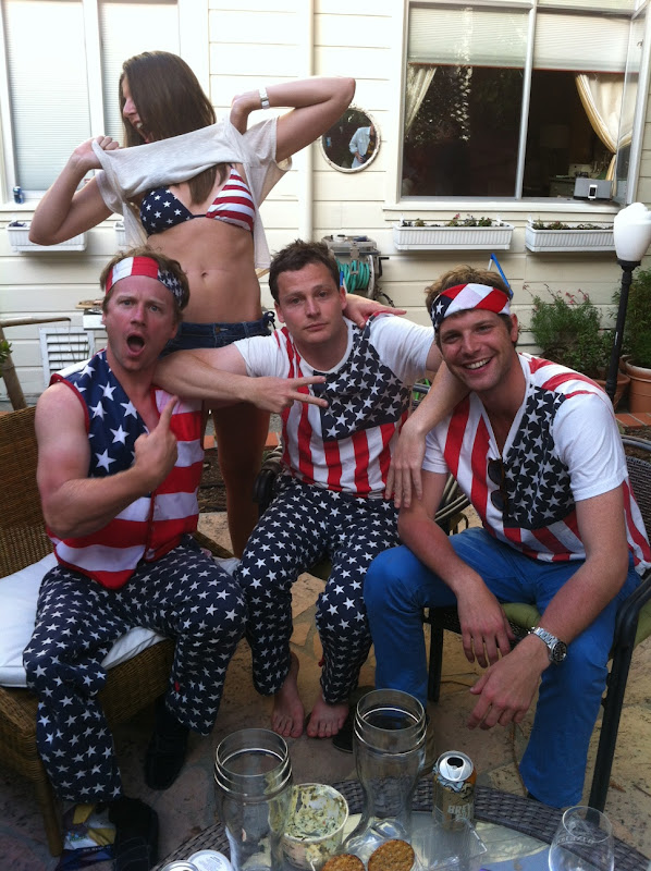 USA Pants Gang with Bikini Girl