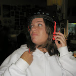Susan with a helmet - she wasn't riding a bike. That's just her fashion accessory of choice lately.