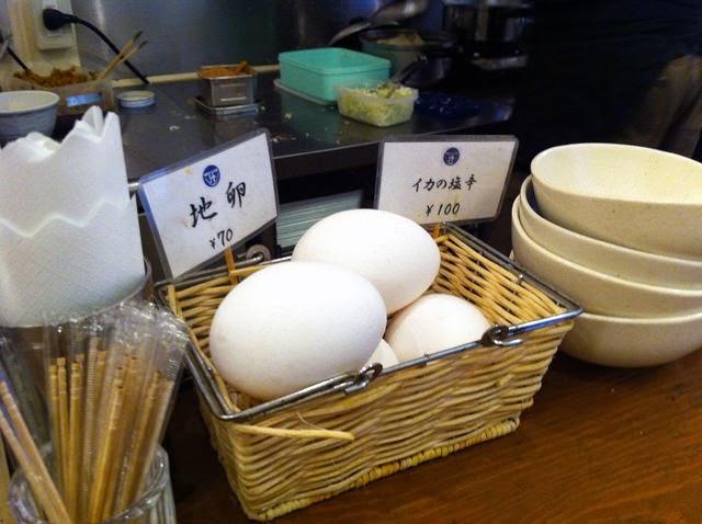 地卵とイカの塩辛の案内