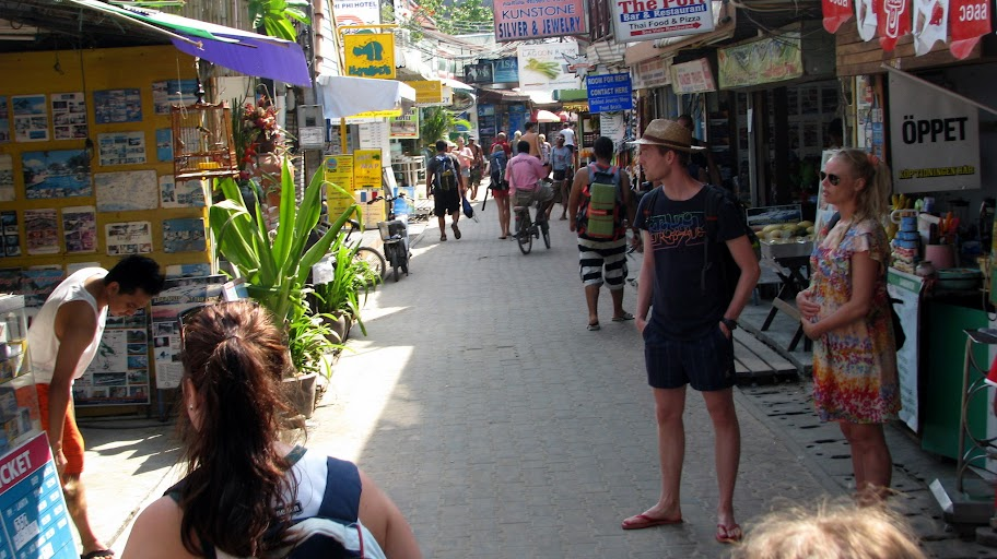 A steet in the main town on Koh Phi Phi Don