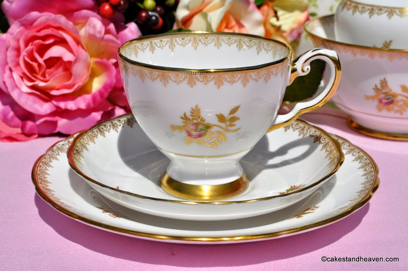 Tuscan Rosalie F187 Vintage China Teacup Trio