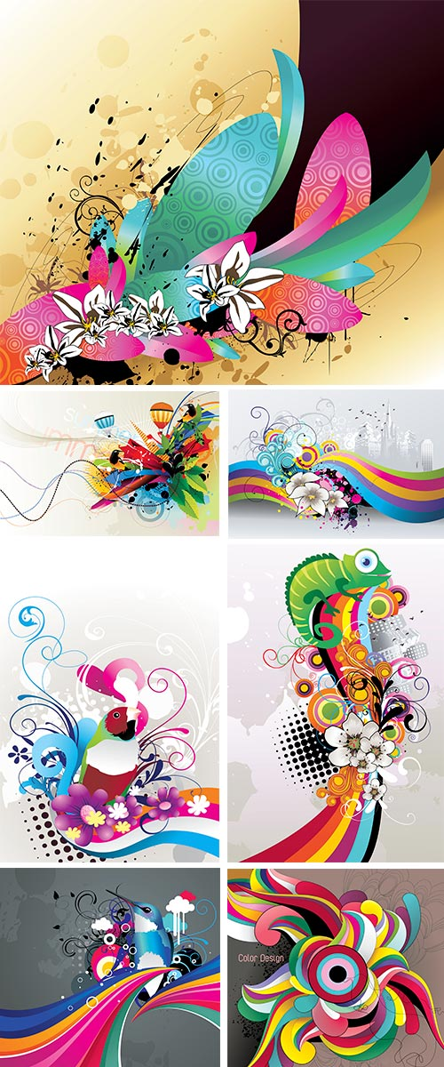 Stock: Flowers abstract color vector