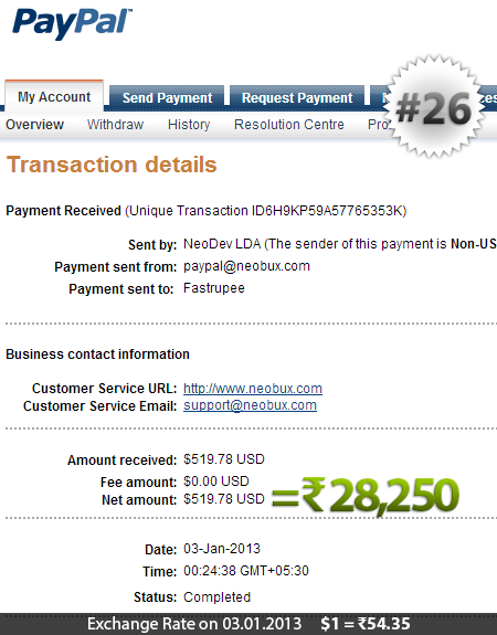 Neobux Payment Proof 26