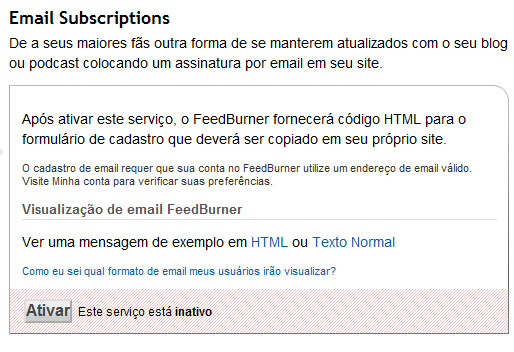 Email subscription do FeedBurner