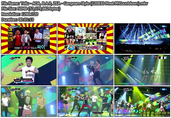 [Perf] AOA, B.A.P, ZE:A   Gangnam Style @ Mnet M!Countdown 120830