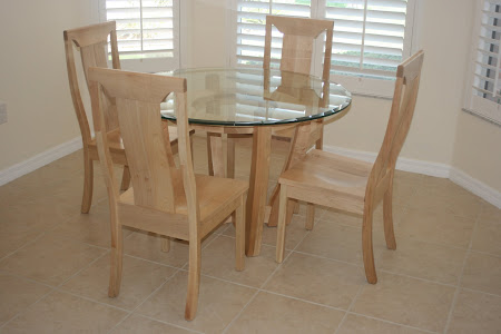 "Xenium 45"" Diameter Table and Xenium Chairs in Natural Maple, Custom Glass Tabletop"