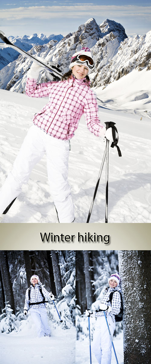 Stock Photo: Winter hiking. Skis