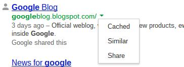 Google Search Menü