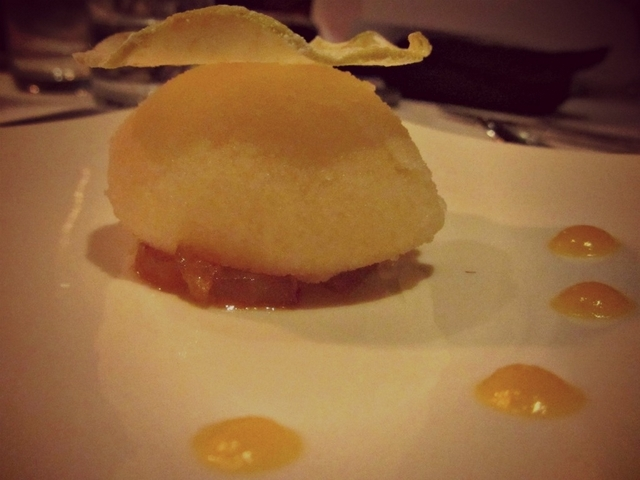 Icy Apple Sorbet served with Apple chip and Apple puree on top of Apple chutney