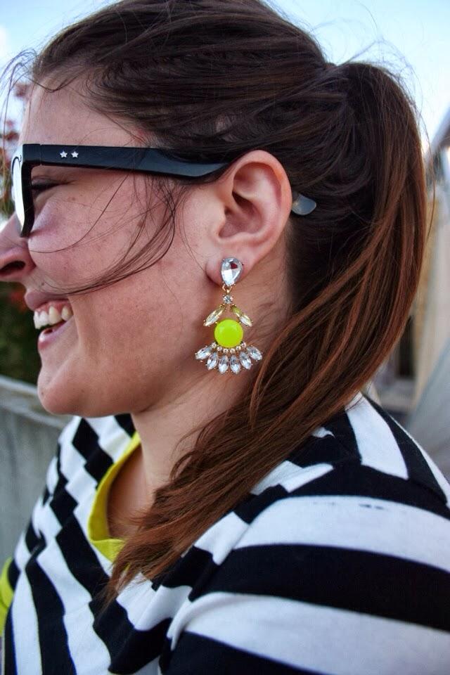 Yellow earrings, neon earrings, neon stripe