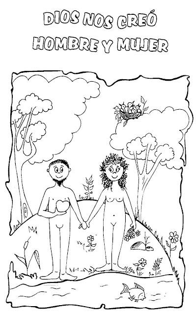 Vistoso Adán Y Eva Colorear Páginas Para Imprimir Ilustración ...