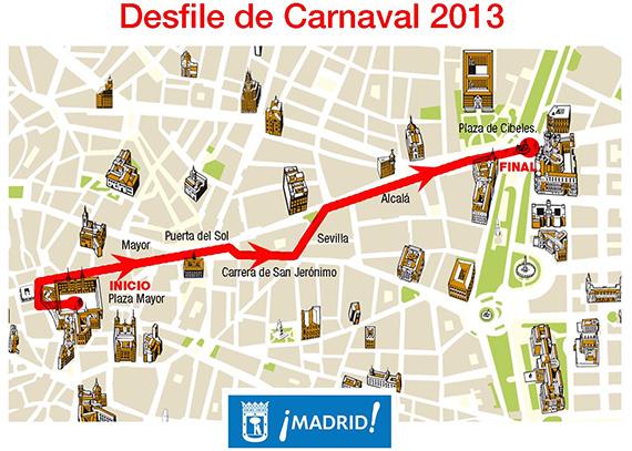 Cortes y desvíos por el Desfile de Carnaval 2013 de Madrid