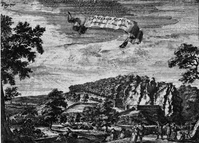 Die Externsteine. Kupferstich von R. de Hooghe (167211714)