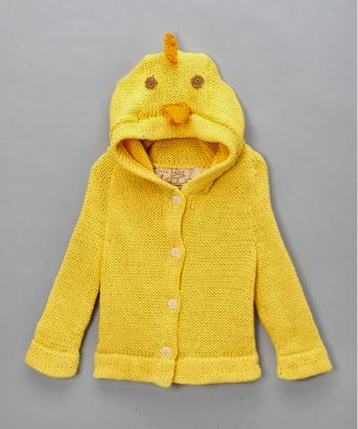 tot knits hooded chick cardigan organic wool